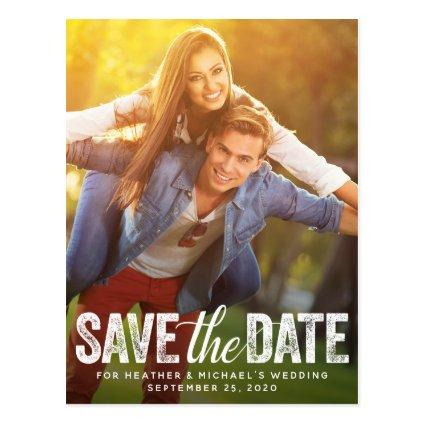 Save The Date Wedding Distressed Script Photocard