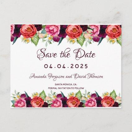 Save the date wedding florals burgundy pink white announcement