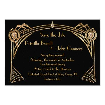 Save the Date Wedding, great-Gatsby, black & gold Invitation
