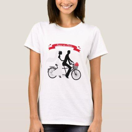 Save the date, wedding invitation tandem bicycle T-Shirt