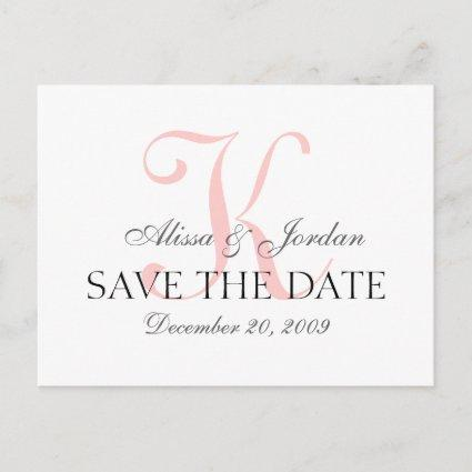 Save the Date Wedding Monogram Announcement Card