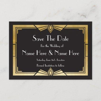 Save The Date Wedding Party 1920's Gold Invites