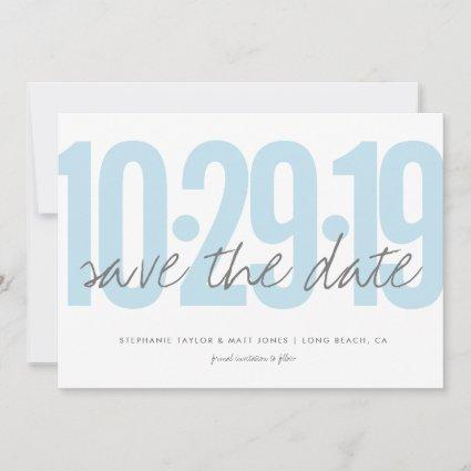 Save the date, wedding, photo on back, blue save the date