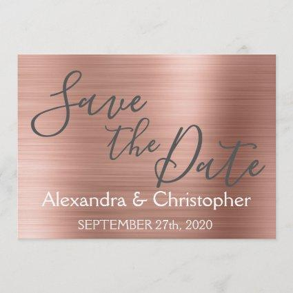 Save the Date Wedding Rose Gold Pink Foil