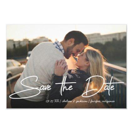 Save the Date Wedding Stylish Pen Stroke Script Invitation