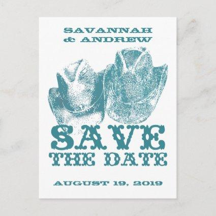 Save the Date Western Teal Cowboy Hat Weddings Announcement