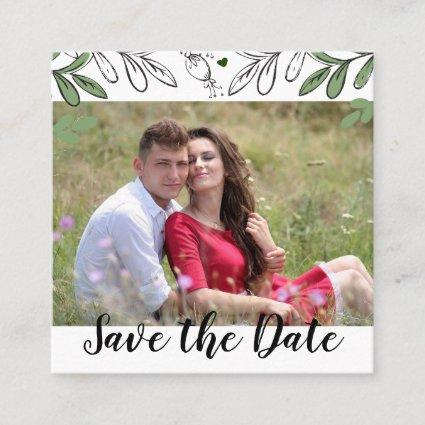 Save the Date Whimsical Hand Drawn Botanical Annou Square Business Card