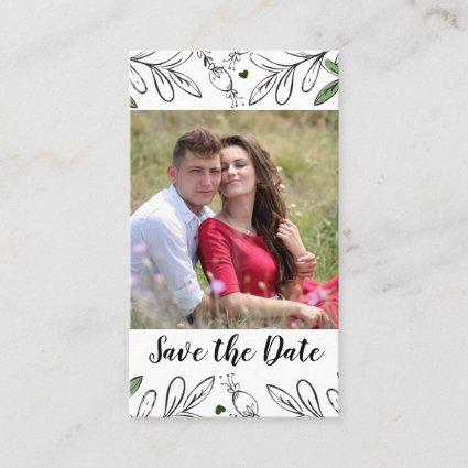 Save the Date Whimsical Hand Drawn Botanical Business Card