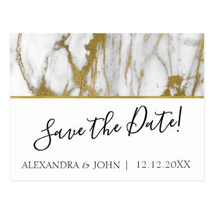 Save the Date White and Gold Elegant Marble