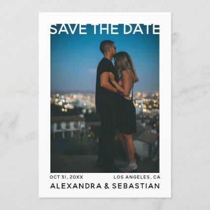 Save The Date White Black Heart Wedding