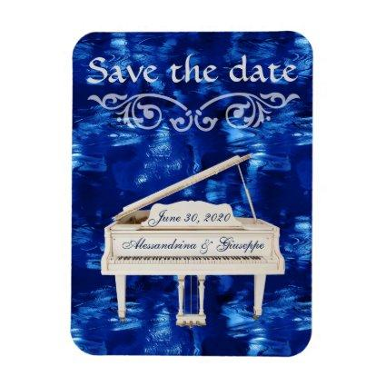 Save The Date White Piano Blue Waves Custom Text Magnet
