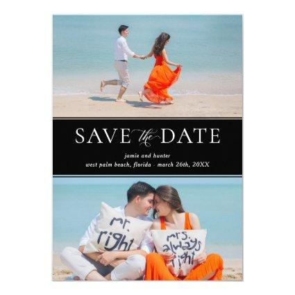 Save the Date White Text on Black, Two Photo Card