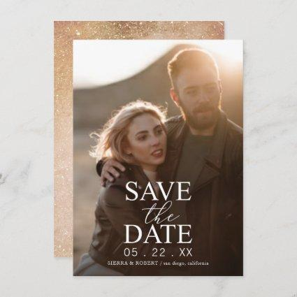 Save the Date White Text Wedding Announcement