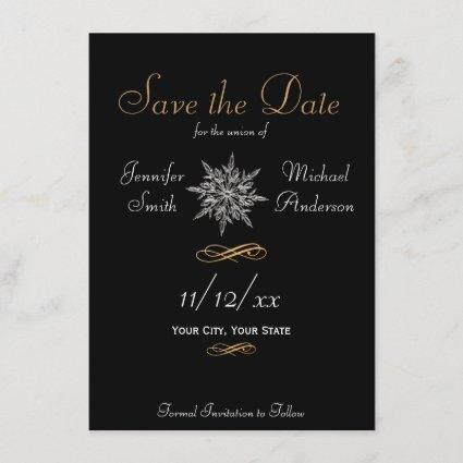 Save the Date Winter Snowflake Simple Wedding