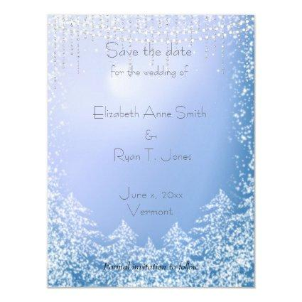 Save the Date Winter Wedding, Snowflakes Magnetic Invitation