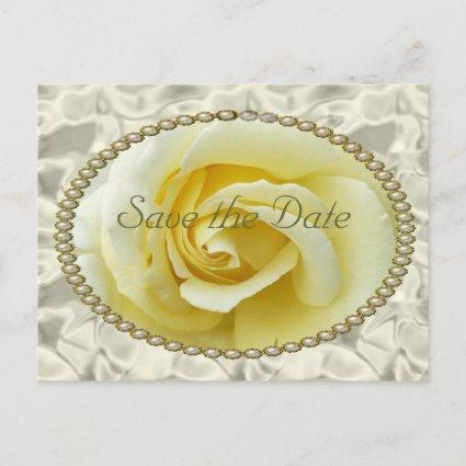 Save the date with Yellow Rose, Pearls & Satin Announcement