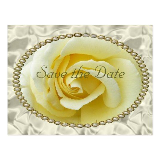 Save the date with Yellow Rose, Pearls & Satin