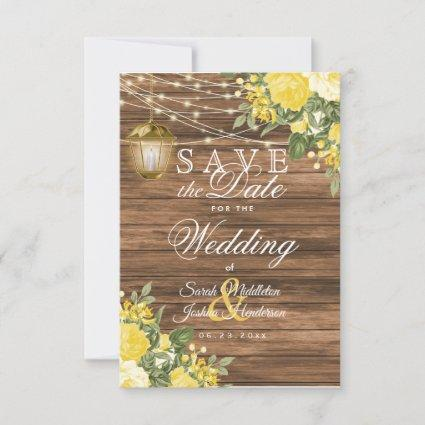 Save the Date Wood, Lanterns and Yellow Flower