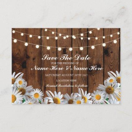 Save The Date Wood Rustic Daisy Lights Card