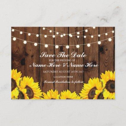 Wood Rustic Sunflowers Lights Cards