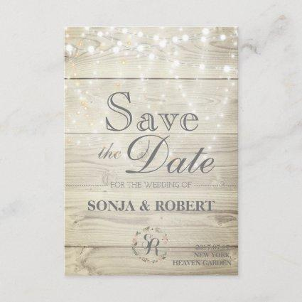 Save the Date - Wood with White Lights