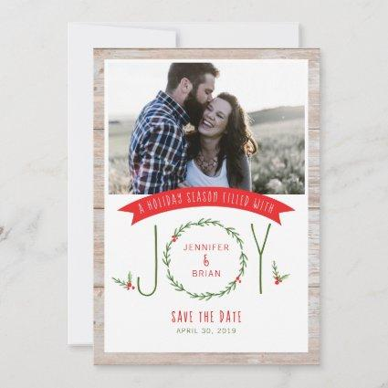 Save the Date Woodsy Wreath Joy Christmas Card