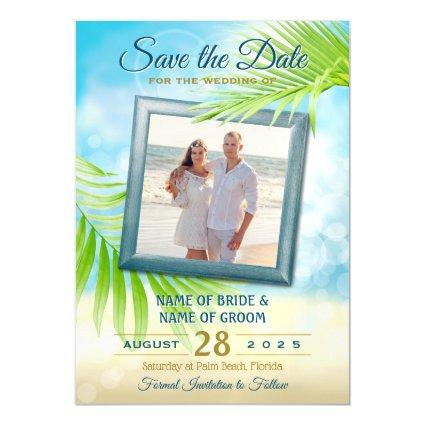 Save the Date Your Photo Beach Wedding Palm Leaves Magnetic Invitation