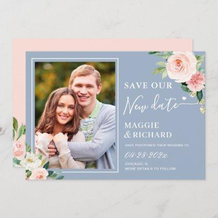 Save The New Date Dusty Blue Blush Pink Floral Save The Date