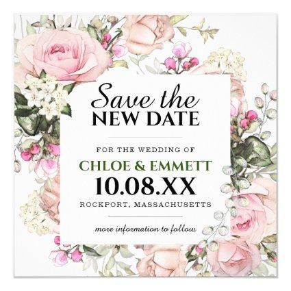 Save the New Date Pink Floral Wedding Announcement