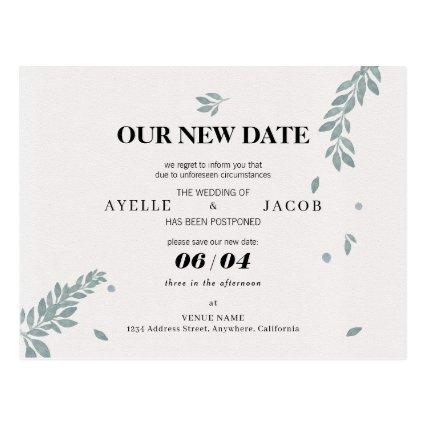 Save The New Date Rescheduled Postponed Wedding