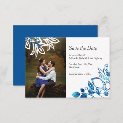 Scandinavian Blue and White Save-the-Date Advice Card