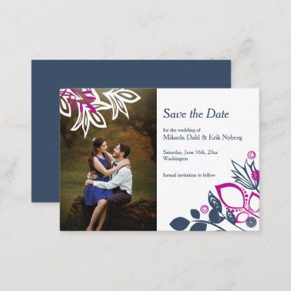 Scandinavian Blue, Gray, and Pink Save-the-Date Advice Card