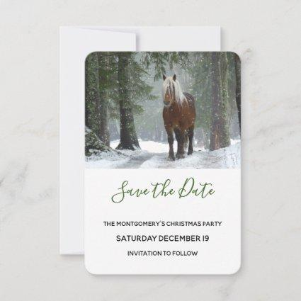 Scenic Brown Horse in a Winter Forest Christmas Save The Date