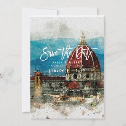 scenic Florence Italy wedding save the date card