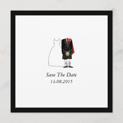 Scottish Kilt Bride & Groom Save the Date - red