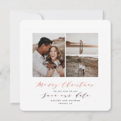 Script text photo Christmas save the date Holiday Card