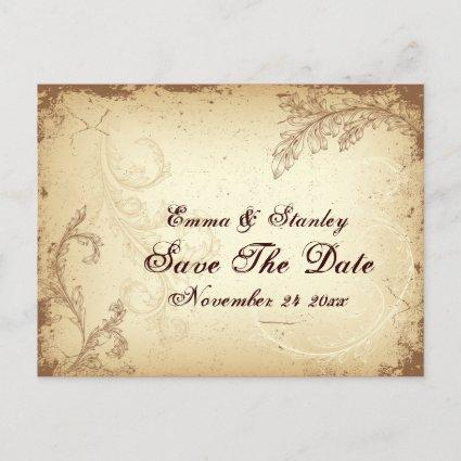 Scroll leaf vintage brown beige Save the Date Announcements Cards