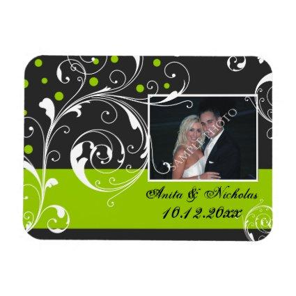 Scrolwork black, green wedding Save the Date Magnets