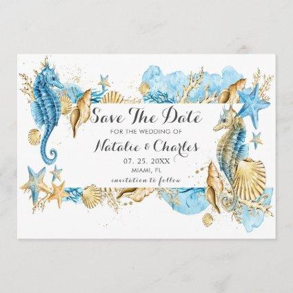 Sea and Beach Summer Wedding Save the Date