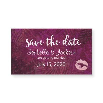 Sexy Pink Lips & Tropical Leaves Save The Date