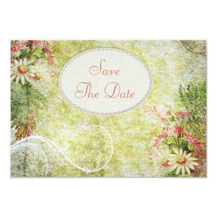 Shabby Chic Daisy & Wildflowers Save The Date Invitation