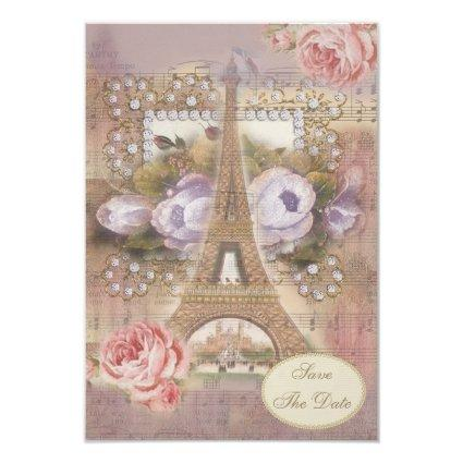 Shabby Chic Eiffel Tower Floral Save the Date Invitation