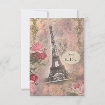 Shabby Chic Eiffel Tower & Roses Save the Date