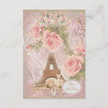 Shabby Chic Eiffel Tower Save the Date Wedding