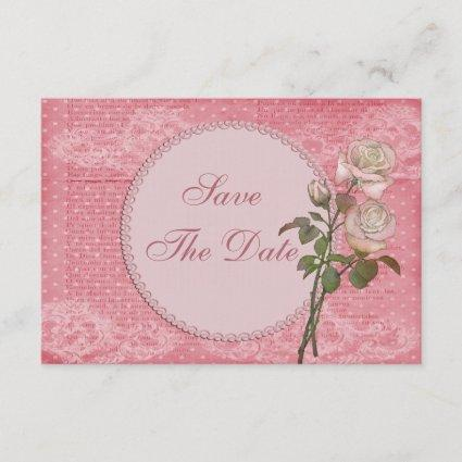 Shabby Chic Pink Roses Save the Date Baby Shower
