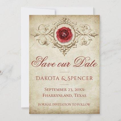 Shabby Chic Save our Date | Crimson Grunge Rose Save The Date