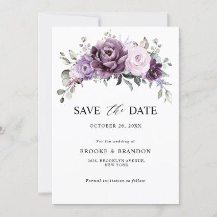 Shades of Dusty Purple Blooms Moody Floral Wedding Save The Date