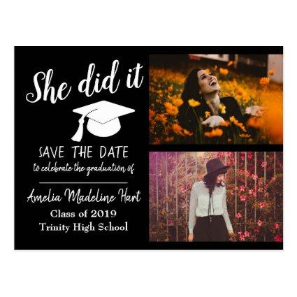 She Did It   Save The Date Graduation Photo Black