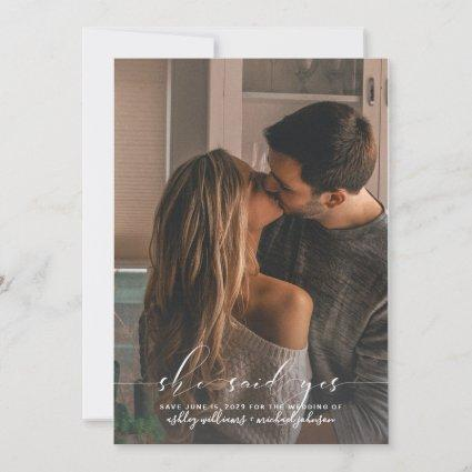SHE SAID YES Calligraphy Photo Save the Date