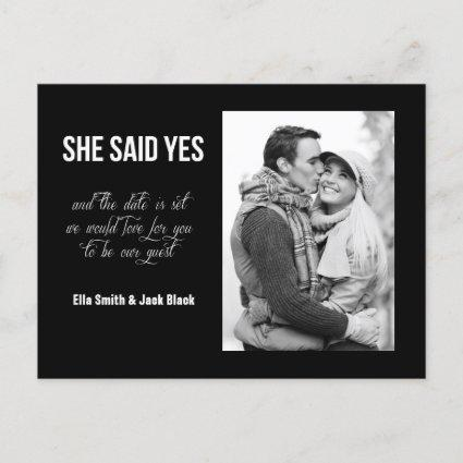 She Said Yes Save The Date Announcements Cards